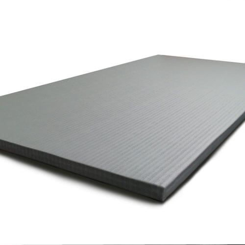 Grey tatami mats for judo training.